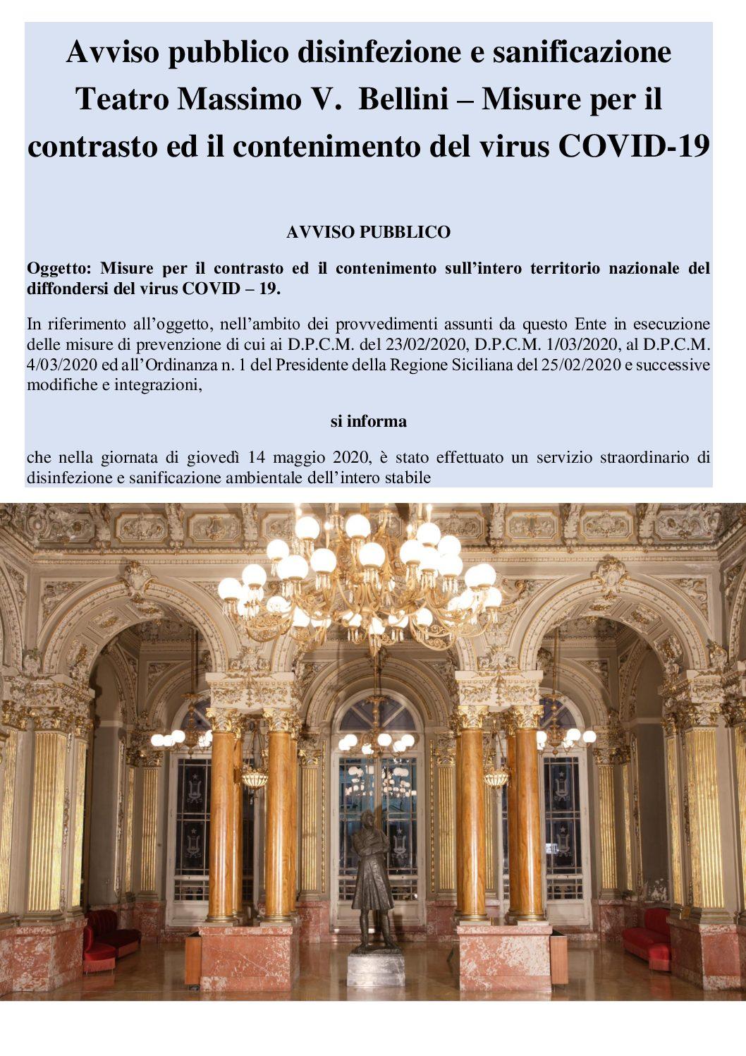 Avviso pubblico disinfezione e sanificazione   Teatro Massimo V.  Bellini – Misure per il contrasto ed il contenimento del virus COVID-19
