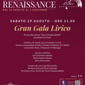"""Secondo Gran Galà Lirico, Villa Bellini. sabato 29 agosto ore 21, protagonista il baritono Leo Nucci che riceverà il premio alla carriera """"Teatro Massimo Bellini"""""""