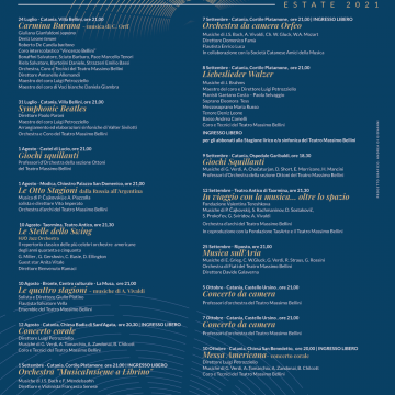 Bellezza, Belcanto, Bellini: prosegue a ritmo serrato la ricca programmazione estiva del Teatro Massimo Bellini di Catania